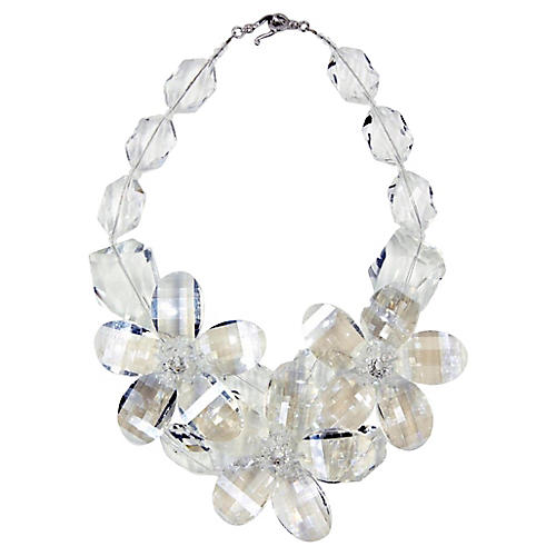 Clear Lucite Flower Statement Necklace