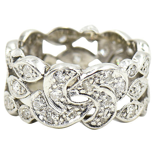 Wide Diamond Platinum Eternity Band Ring