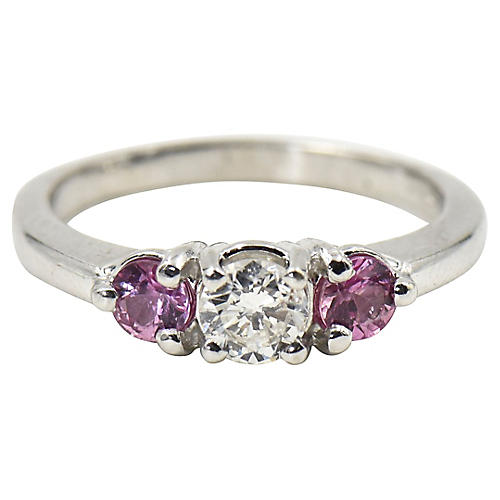 3-Stone Diamond & Pink Sapphire Ring