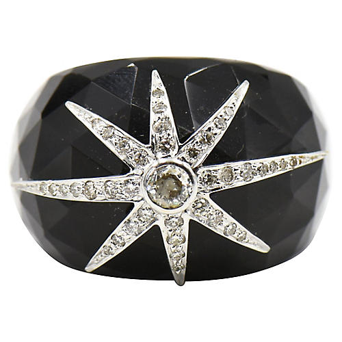 Black Onyx & Diamond Star Cocktail Ring