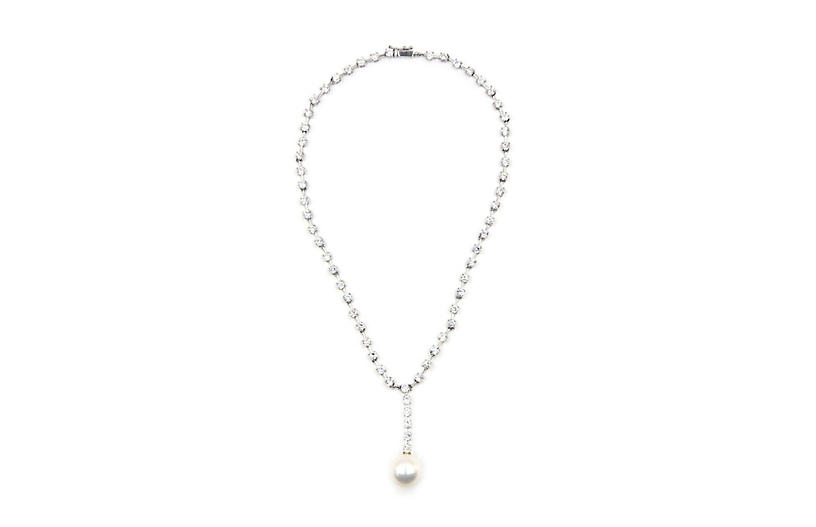 Pearl & Crystal Tennis Sterling Necklace