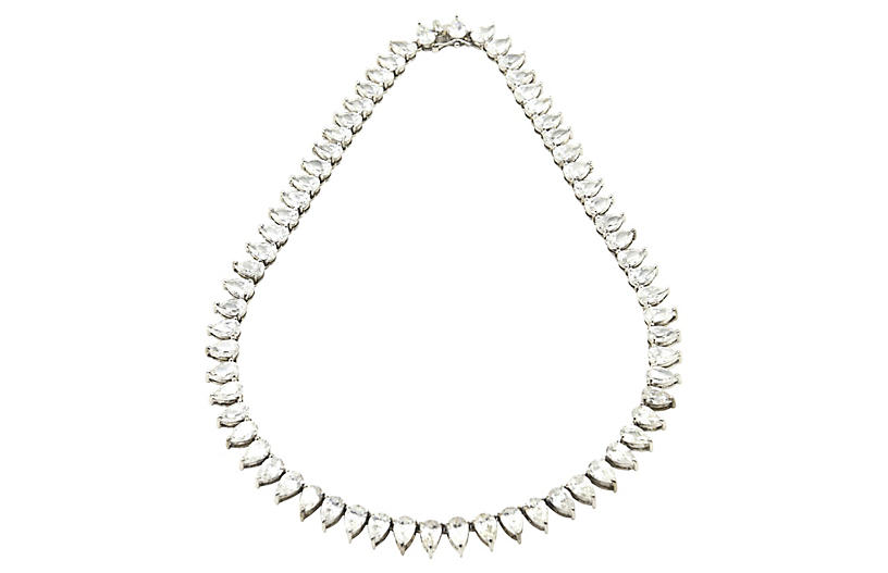 Pear-Cut CZ & Sterling Tennis Necklace