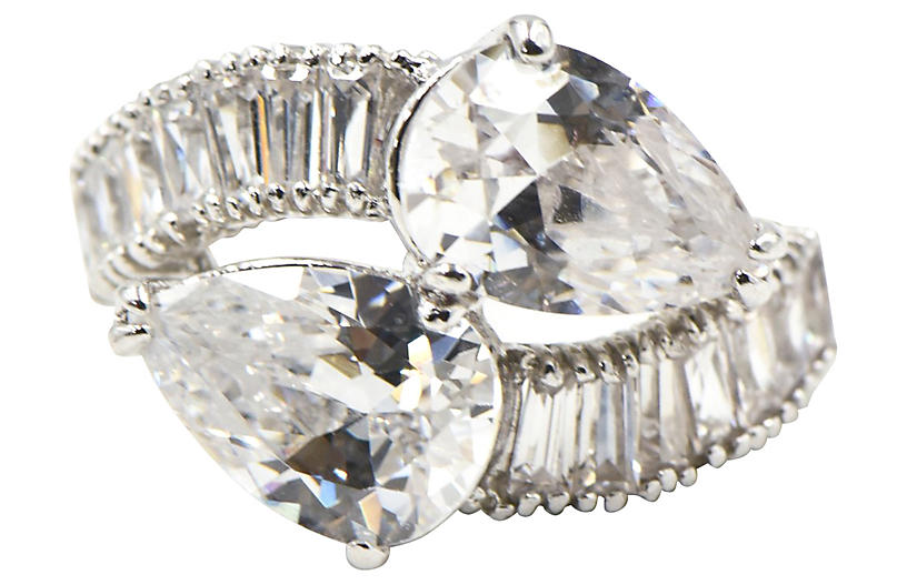 Pear CZ Sterling Bypass Cocktail Ring