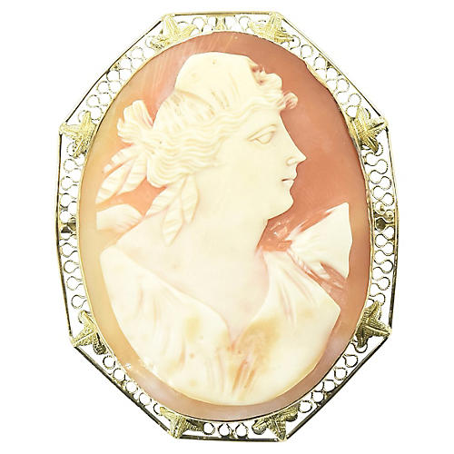 Antique Shell Cameo Portrait Gold Brooch