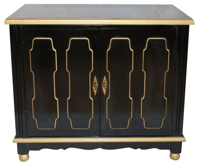 Hollywood Regency Black &  Gold Cabinet