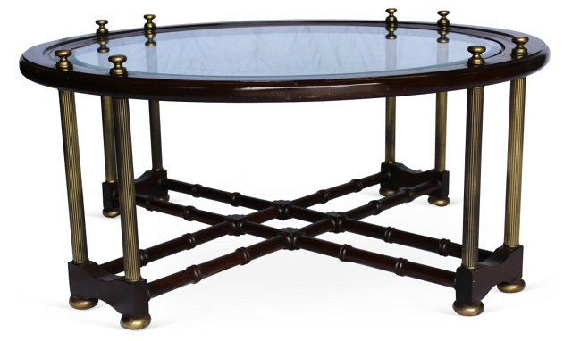 Faux-Bamboo & Brass Cocktail Table