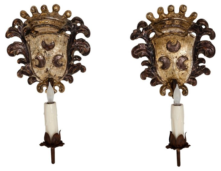 Crest Sconces, Pair