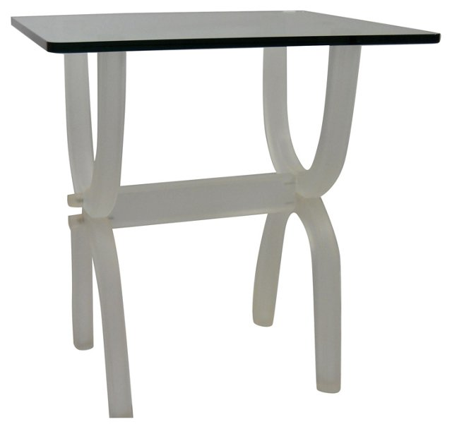 Frosted Lucite &  Glass Table