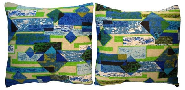 1950s Modernist Pattern Pillows, Pair