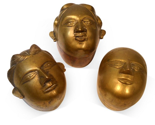 Brass Face Trinket Boxes, S/3