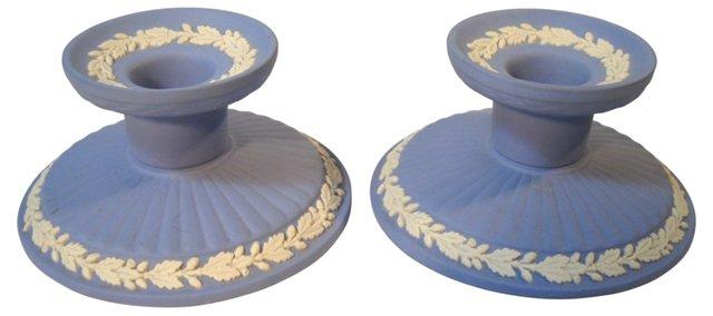 Blue Wedgwood Candleholders, Pair
