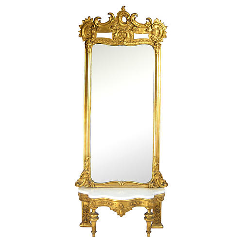 19th-C. Pier Mirror & Marble-Top Console