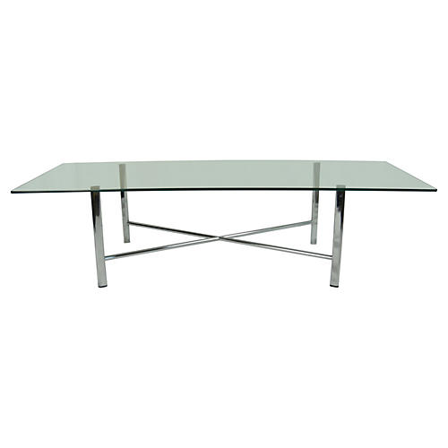 Chrome X Glass-Top Coffee Table