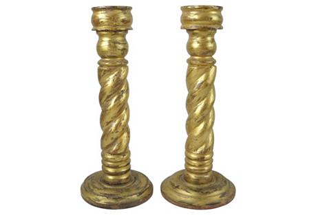 Gilded Barley-Twist Candlesticks, Pair