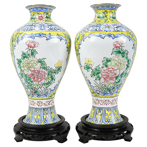 Asian Enamel Vases, Pair