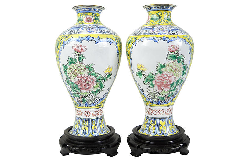 Asian Enamel Vases, Pair
