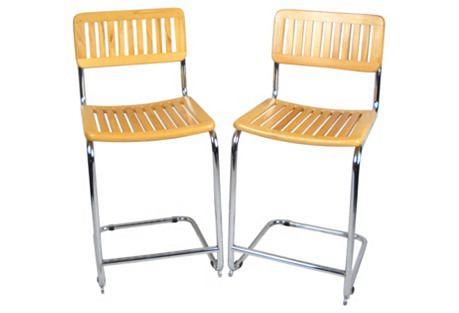 Breuer-Style Wood-Slat Barstools, Pair