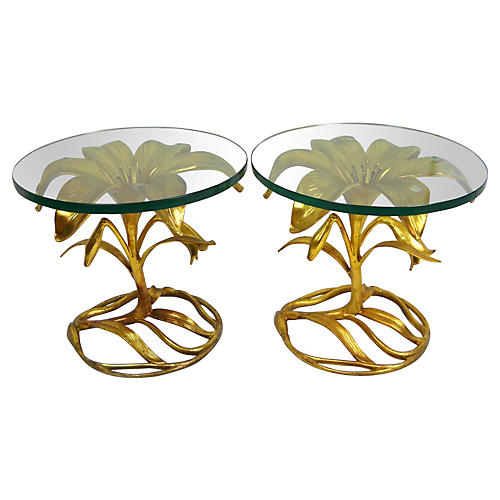 Arthur Court Gilt Lily Side Tables, Pair