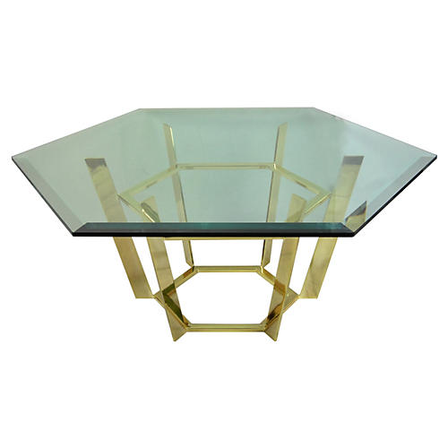 Hexagonal Brass Coffee Table