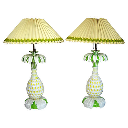 Italian Pineapple Lamps, Pair