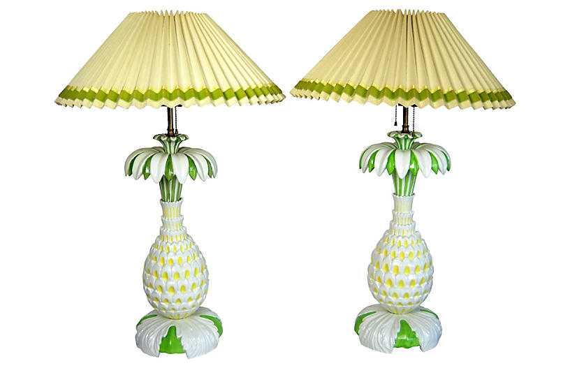 Italian Pineapple Lamps, Pair