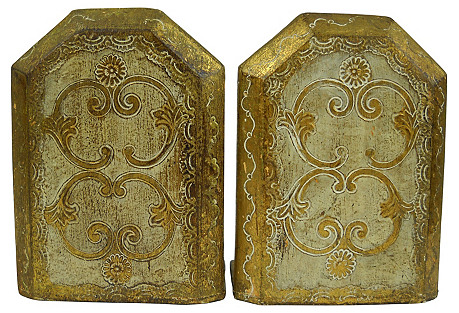 Florentine Giltwood Bookends, S/2