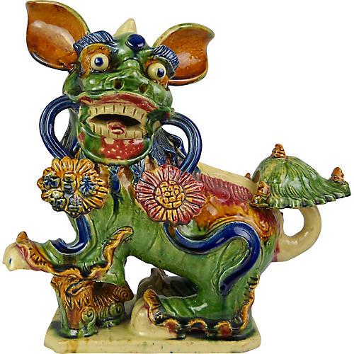 Large Ceramic Foo Dog Sculpture