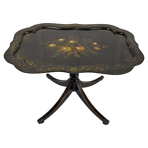 Painted Tilt-Top Ebonized Wood Table