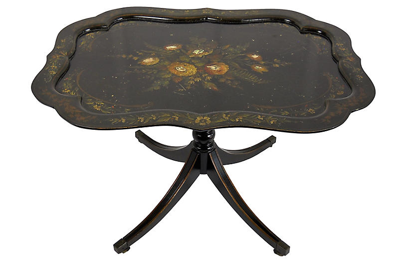 Painted Tilt-Top Ebonized Wood Table