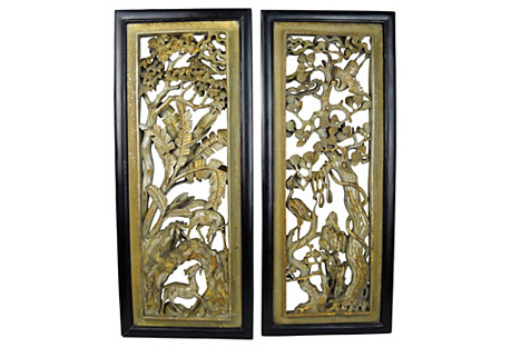 Asian Carved Wood Panels, S/2