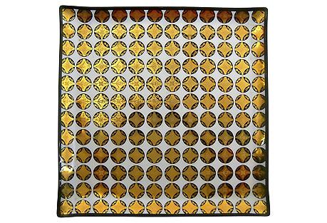 Midcentury Gilded Enamel Glass Dish