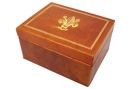 Fleur-de-Lis Leather Box