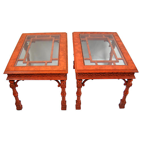 Chippendale-Style Side Tables, Pair