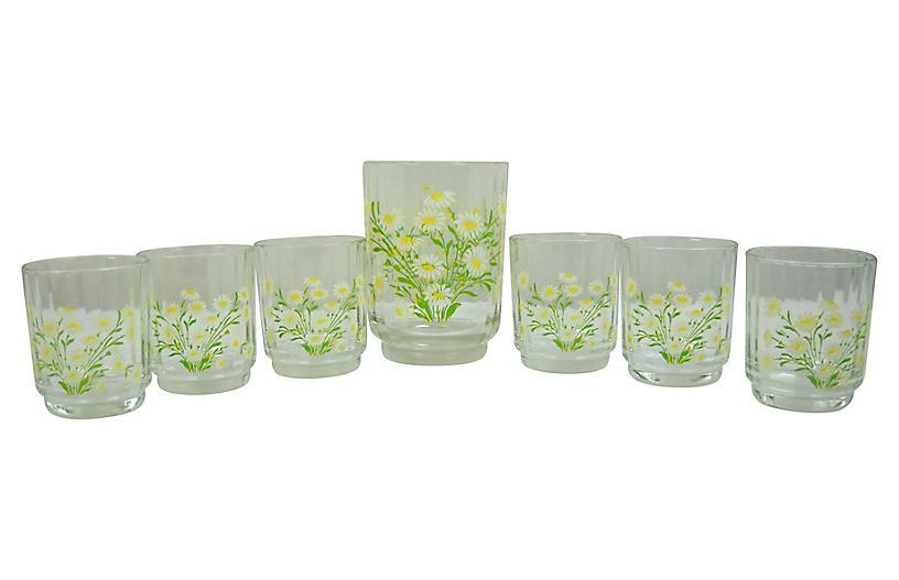 Daisy Ice Bucket w/ Glasses, 7-Pcs