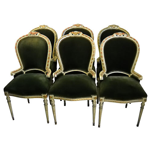 French Painted Dining Chairs, S/6