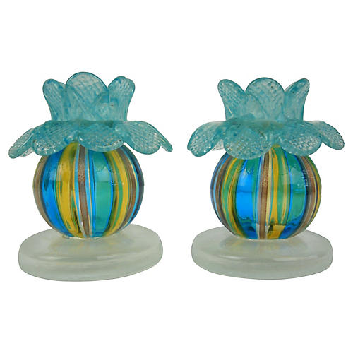 Venetian Glass Flower Candlesticks, Pair