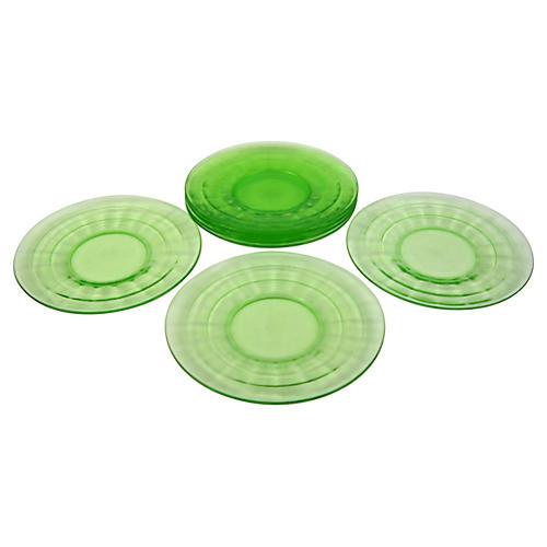1930s Green Glass Dessert Plates, S/7