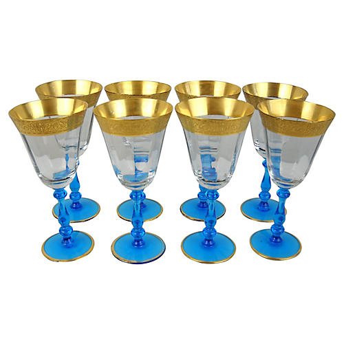 Gilt-Rim Wineglasses, S/8