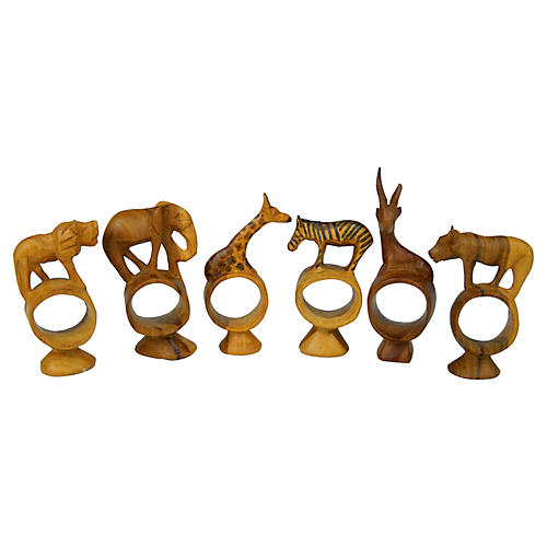 Safari Animal Wood Napkin Rings, S/6