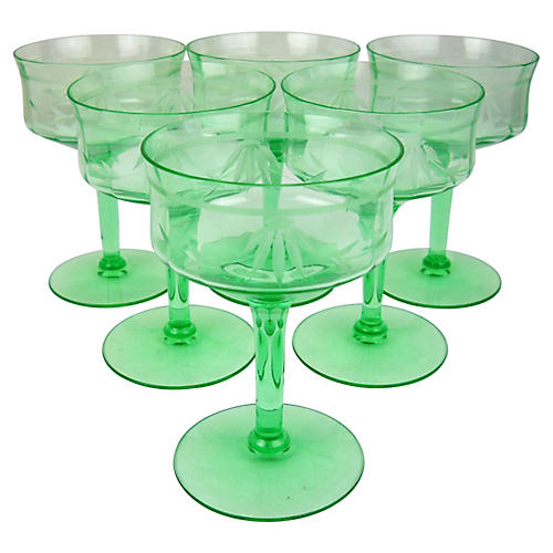 Etched Green Glass Coupes, S/6
