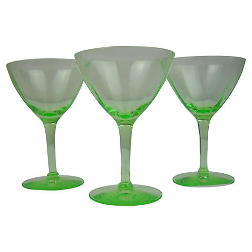 Chartreuse Green Glass Coupes, S/3