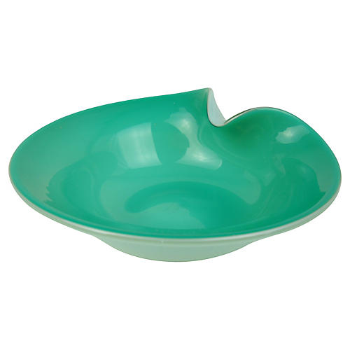 Murano Teal & White Cased-Glass Bowl