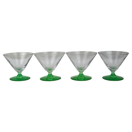Green Stem Swirl Sherbert Glasses, S/4