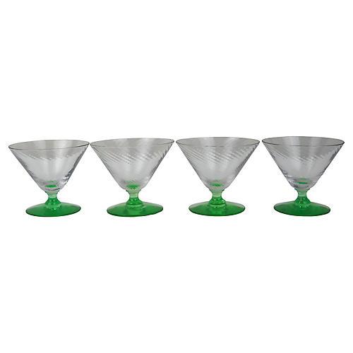 Green Stem Swirl Sherbert Glasses, S/4