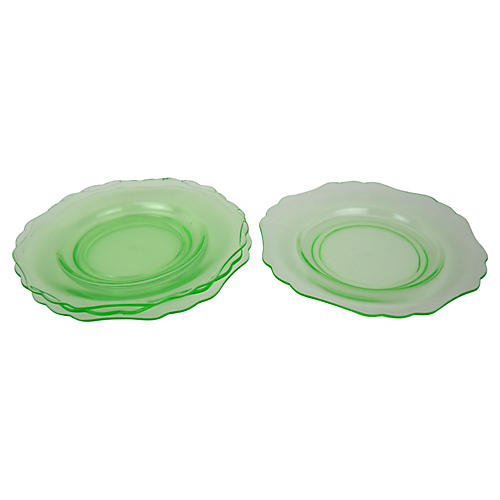 Green Glass Dessert Plates, S/4