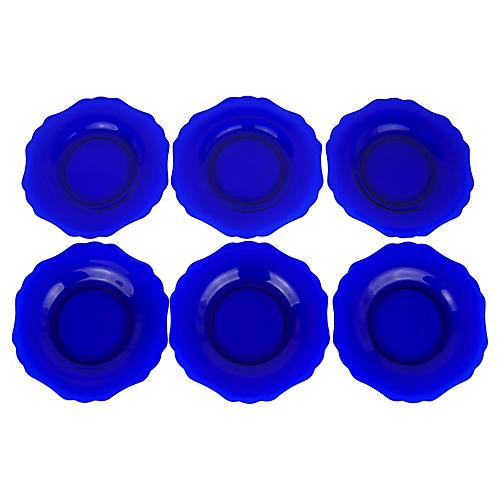 Cobalt Blue Glass Dessert Plates, S/6