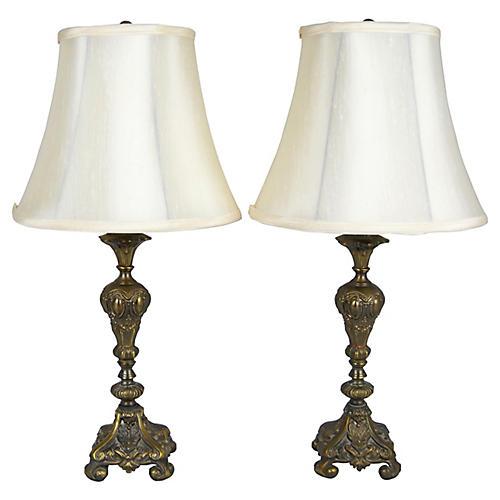 Brass Boudoir Table Lamps, S/2