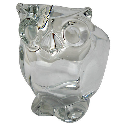 Midcentury Crystal Owl Catchall