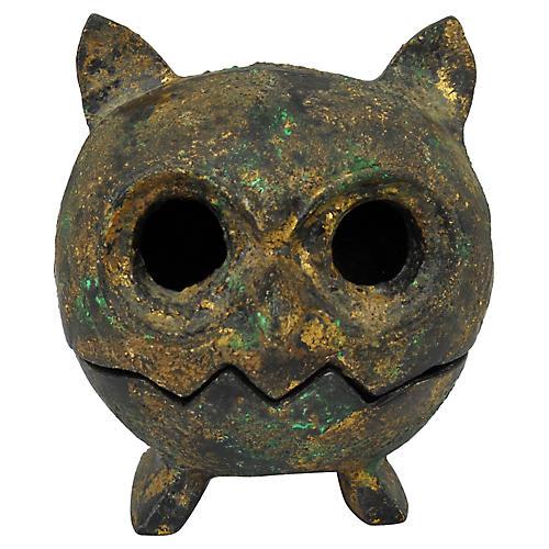 Midcentury Metal Owl Votive Holder