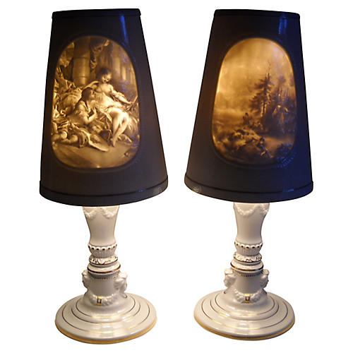 German Porcelain Shade Lamps, S/2